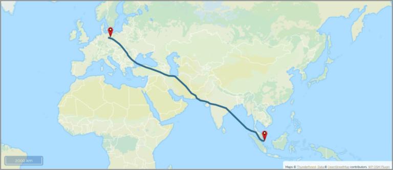 Reiseplanung Rucksack Karte Malaysia Flugroute