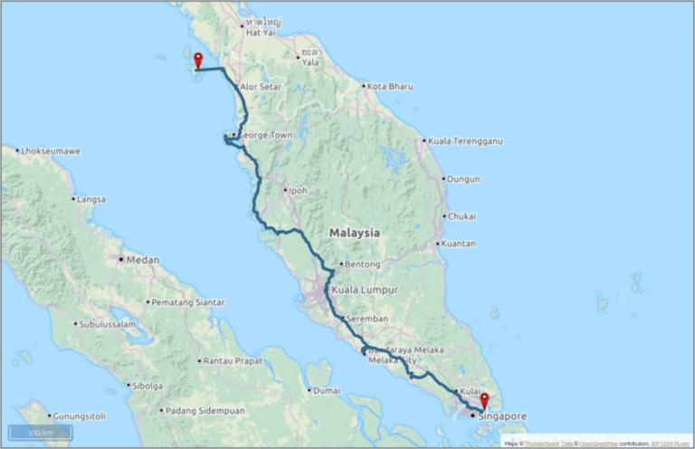 Reiseplanung Rucksack Karte Malaysia Route geplant