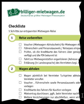 Mietwagen billiger Checkliste