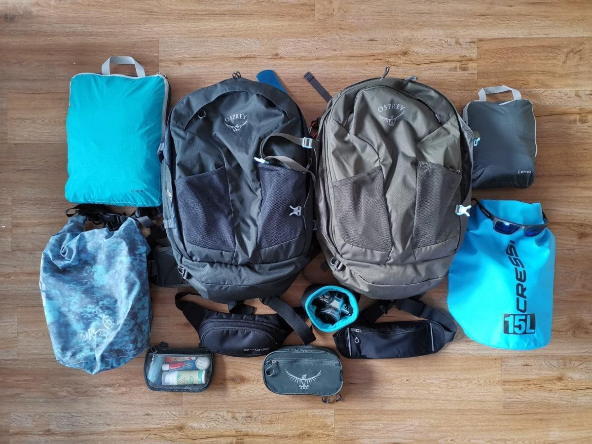 Packliste Backpack und Zubehör für Reise