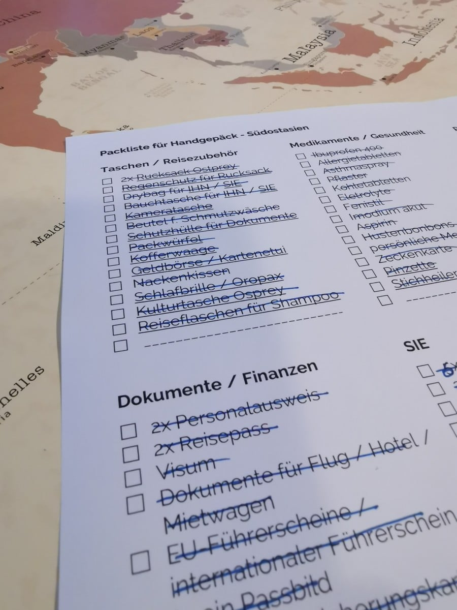 Packliste Checkliste abhaken