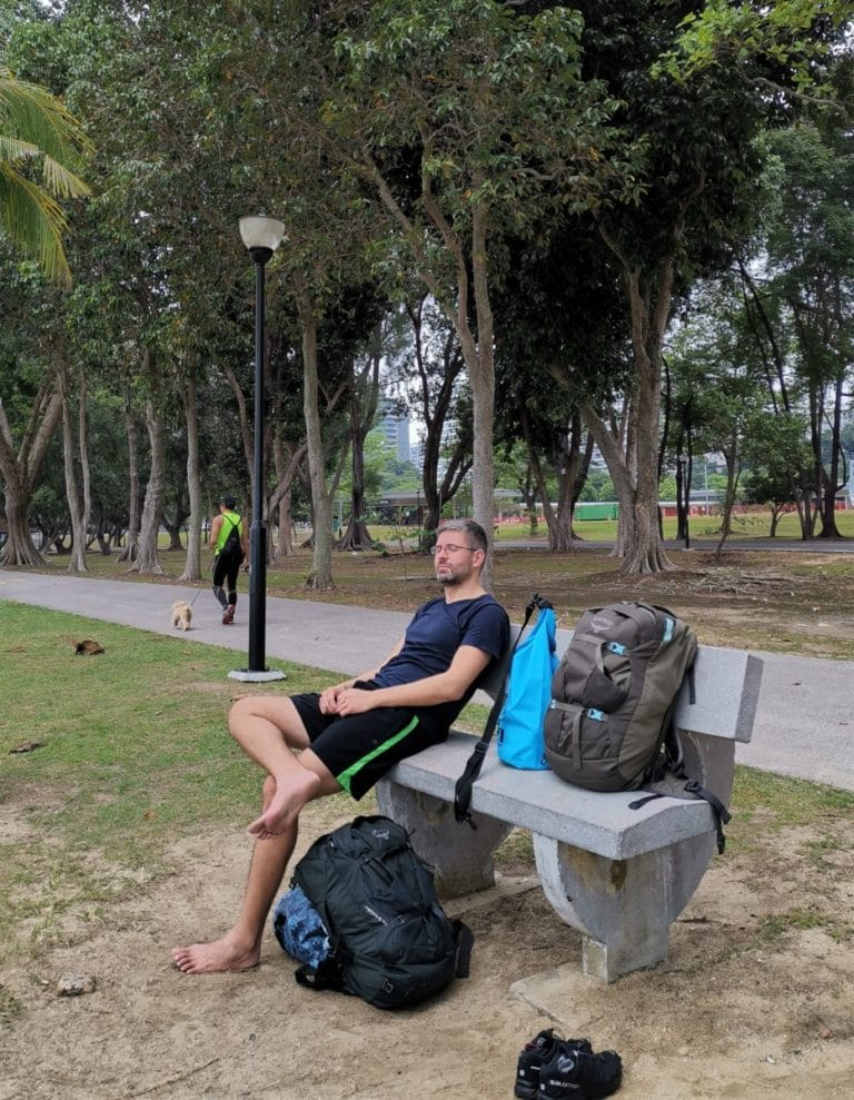 Backpacking Singapur Ankunft Strand