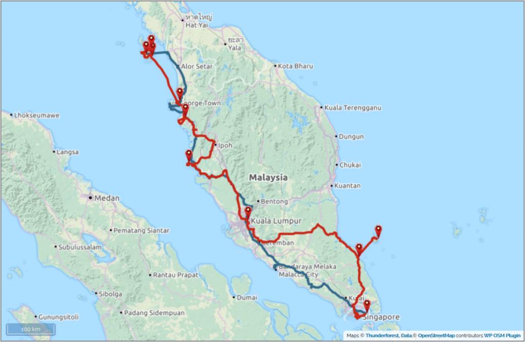 Backpacking von Singapur nach Malaysia Geplante Route blau Tatsächliche Route rot