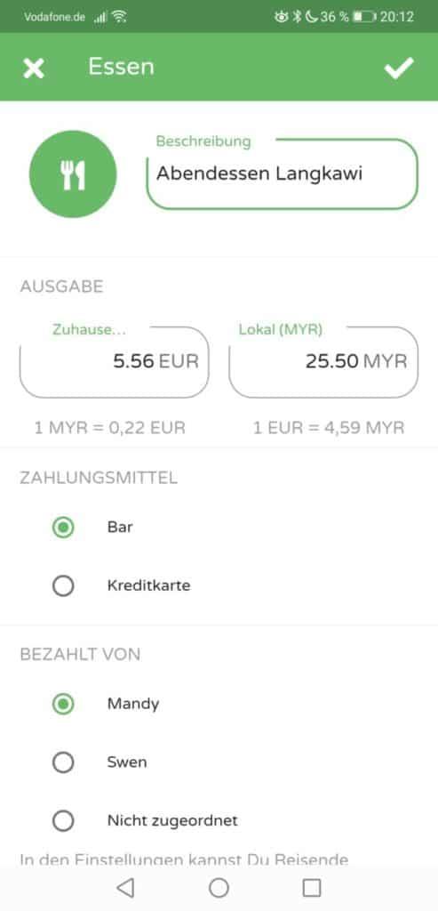Malaysia Kosten Eingabe Trexpense