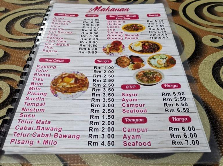 Malaysia Reise Essen Speisekarte