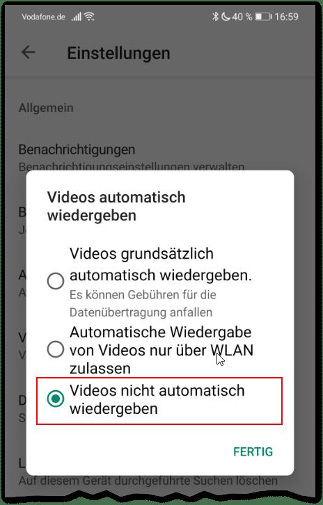 Handy Ausland Android appstore Einstellungen Downloads Videos deaktivieren