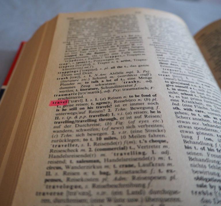Englisch für Reisen verbessern Wörterbuch