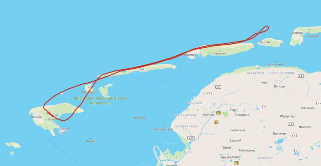 Insel Borkum Strecke Rundflug