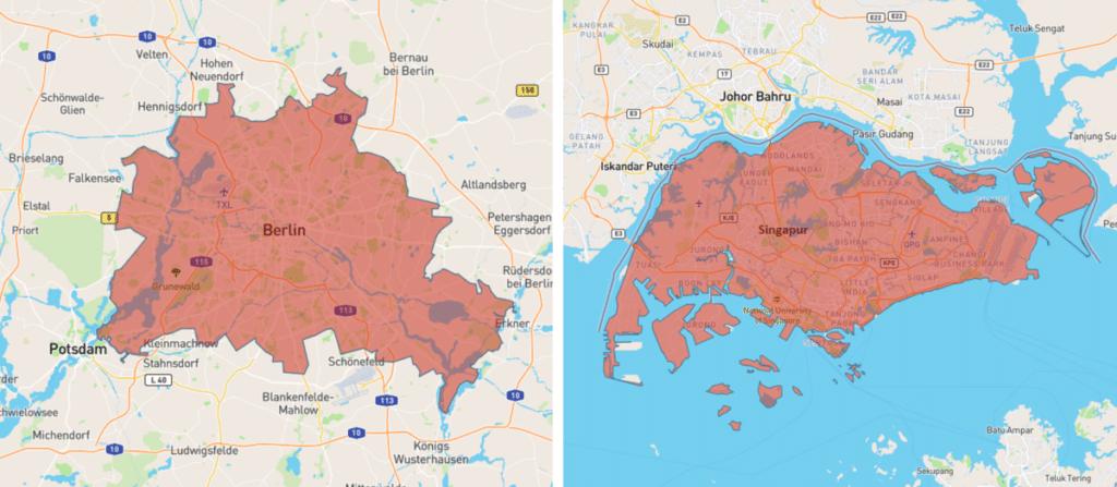 Berlin Singapur Karte Vergleich