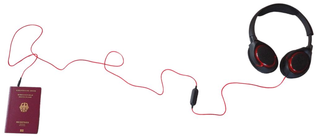 Reise Podcast Kopfhörer Reisepass