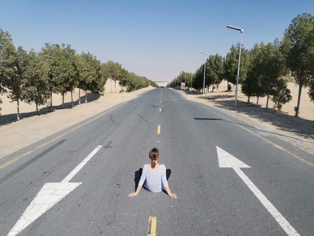Dubai-Reise Straße durch die Wüste