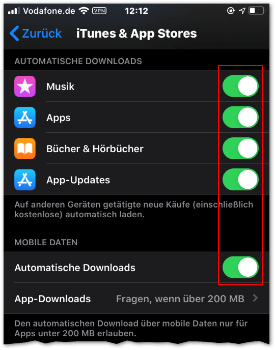 Handy Ausland iphone itunes appstore automatische downloads