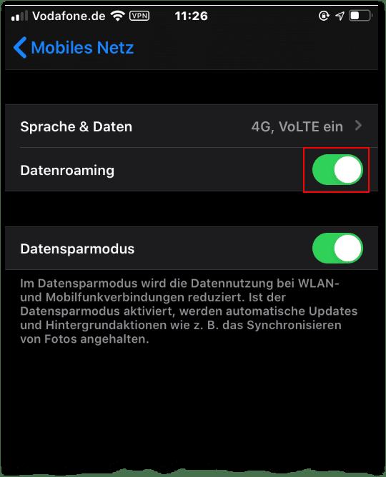 Handy Ausland iphone mobiles netz datenoptionen roaming