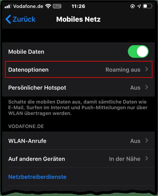 Handy Ausland iphone mobiles netz datenoptionen