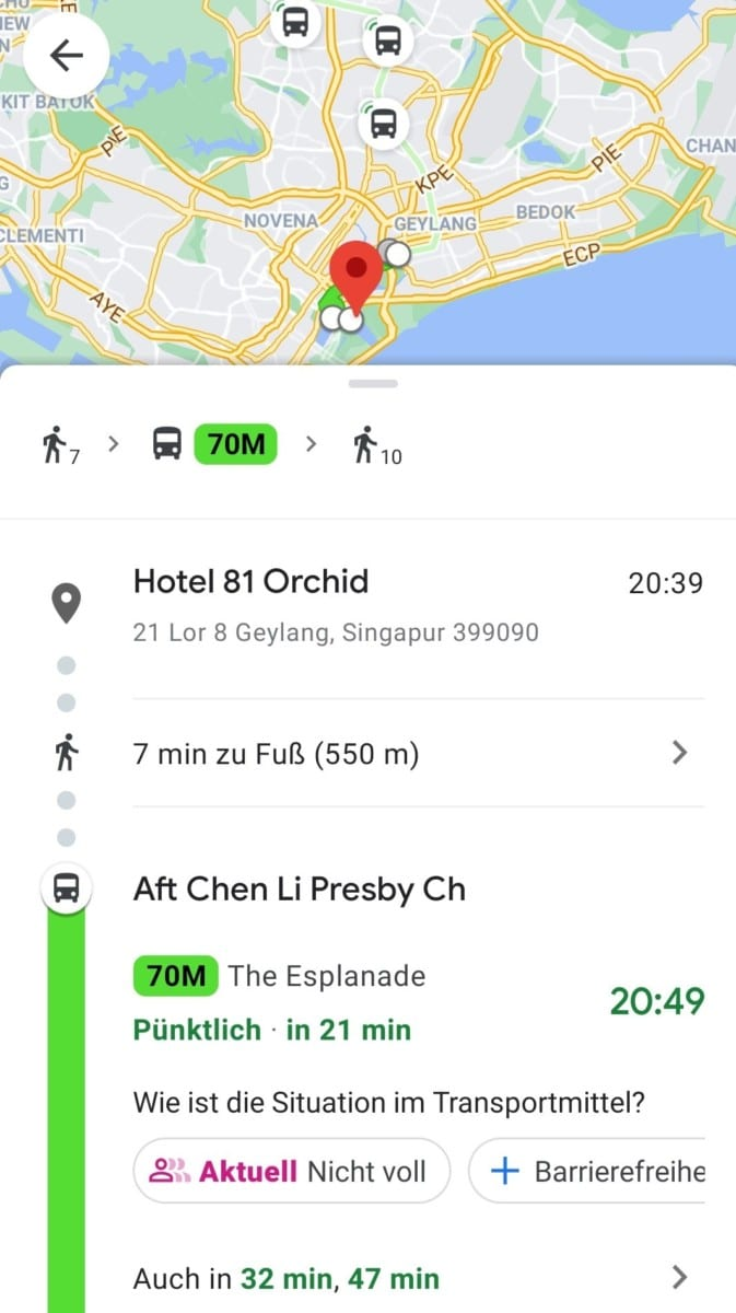 Stopover Singapur Routenplanung