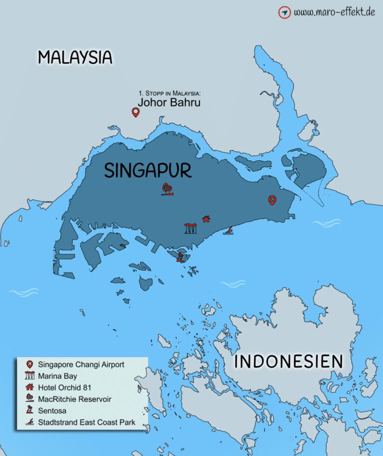 Singapur Karte Übersicht