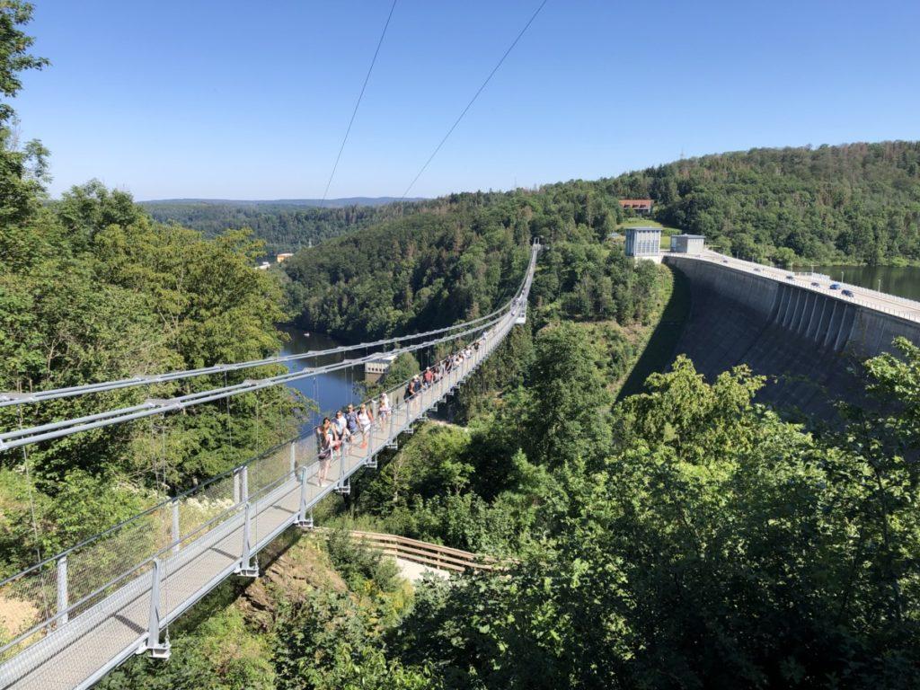 Megazipline Harz Haengebruecke und Staumauer
