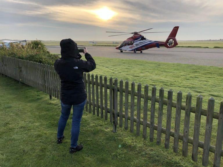 Insel Borkum Flugplatz Hubschrauber